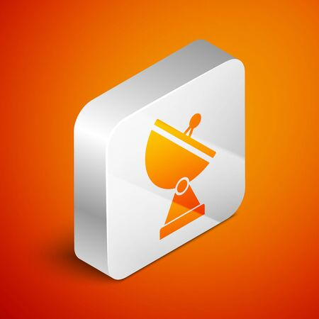 Isometric Radar icon isolated on orange background. Military search system. Silver square button. Vector Illustration