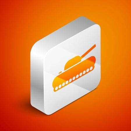 Isometric Military tank icon isolated on orange background. Silver square button. Vector Illustration