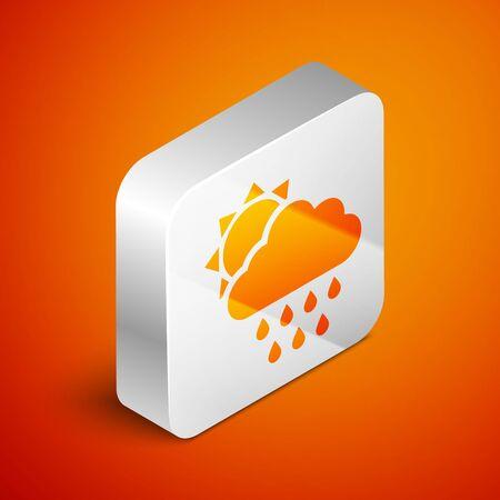 Isometric Cloud with rain and sun icon isolated on orange background. Rain cloud precipitation with rain drops. Silver square button. Vector Illustration Standard-Bild - 133691228