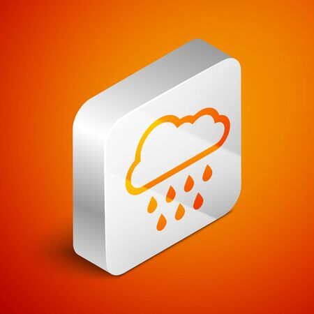 Isometric Cloud with rain icon isolated on orange background. Rain cloud precipitation with rain drops. Silver square button. Vector Illustration Stock fotó - 133691159