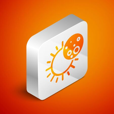 Isometric Eclipse of the sun icon isolated on orange background. Total sonar eclipse. Silver square button. Vector Illustration