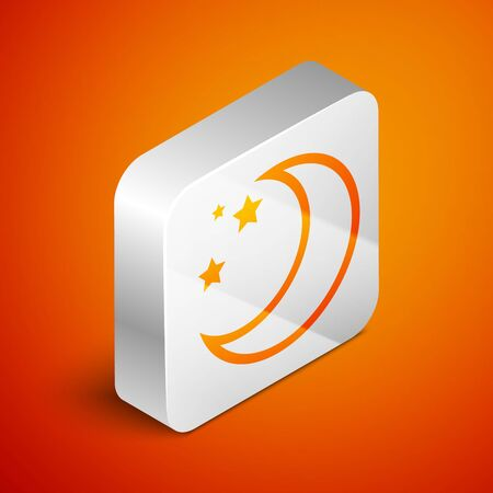 Isometric Moon and stars icon isolated on orange background. Silver square button. Vector Illustration