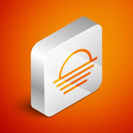 Isometric Sunset icon isolated on orange background. Silver square button. Vector Illustration Stock fotó - 133691177