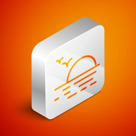 Isometric Sunset icon isolated on orange background. Silver square button. Vector Illustration Stock fotó - 133691180