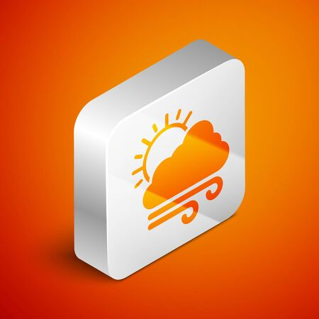 Isometric Windy weather icon isolated on orange background. Cloud with sun and wind. Silver square button. Vector Illustration