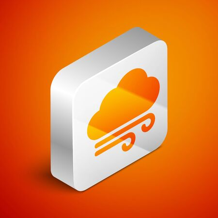 Isometric Windy weather icon isolated on orange background. Cloud and wind. Silver square button. Vector Illustration