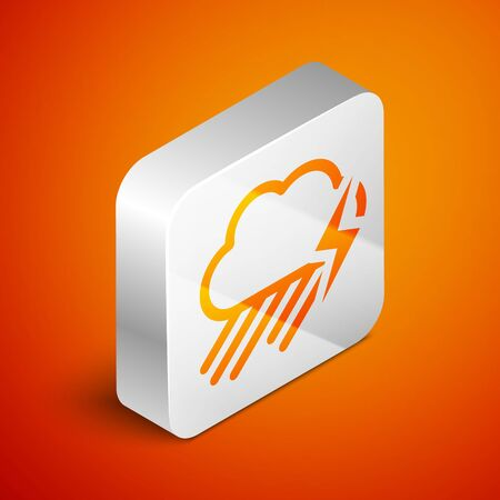 Isometric Cloud with rain and lightning icon isolated on orange background. Rain cloud precipitation with rain drops.Weather icon of storm. Silver square button. Vector Illustration Standard-Bild - 133691084