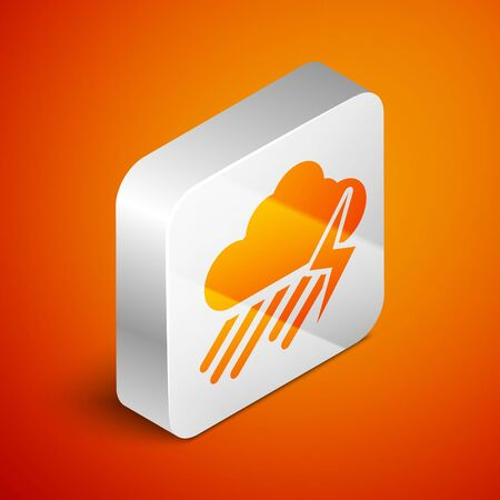 Isometric Cloud with rain and lightning icon isolated on orange background. Rain cloud precipitation with rain drops.Weather icon of storm. Silver square button. Vector Illustration Standard-Bild - 133691085