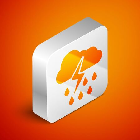 Isometric Cloud with rain and lightning icon isolated on orange background. Rain cloud precipitation with rain drops.Weather icon of storm. Silver square button. Vector Illustration Standard-Bild - 133691090