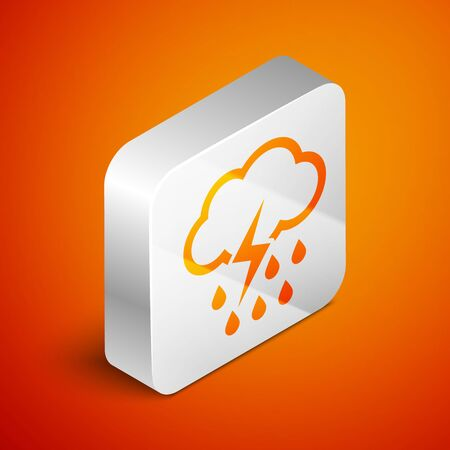 Isometric Cloud with rain and lightning icon isolated on orange background. Rain cloud precipitation with rain drops.Weather icon of storm. Silver square button. Vector Illustration Standard-Bild - 133691098