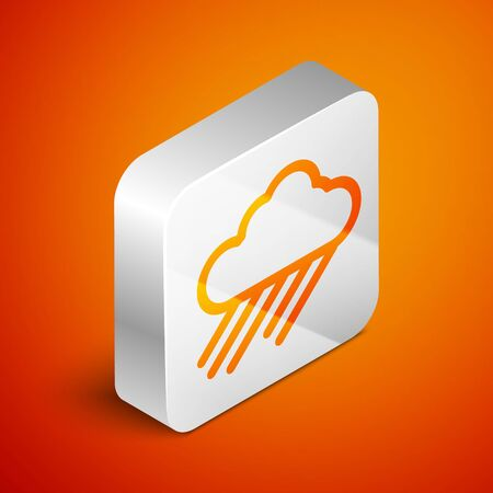 Isometric Cloud with rain icon isolated on orange background. Rain cloud precipitation with rain drops. Silver square button. Vector Illustration Standard-Bild - 133691106
