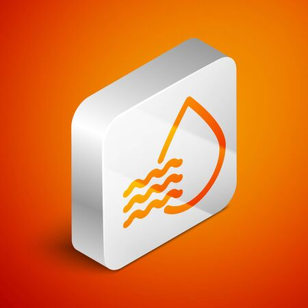 Isometric Water drop percentage icon isolated on orange background. Humidity analysis. Silver square button. Vector Illustration 向量圖像