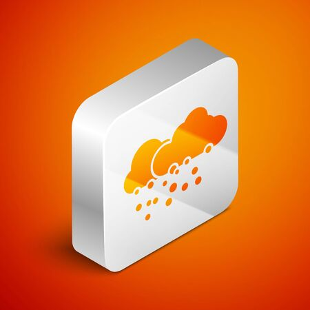 Isometric Cloud with snow icon isolated on orange background. Cloud with snowflakes. Single weather icon. Snowing sign. Silver square button. Vector Illustration Standard-Bild - 133691114