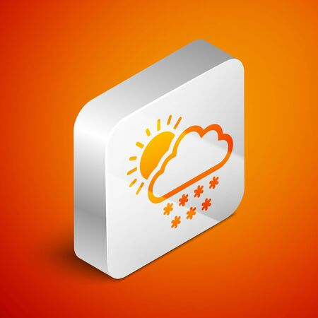 Isometric Cloud with snow and sun icon isolated on orange background. Cloud with snowflakes. Single weather icon. Snowing sign. Silver square button. Vector Illustration Standard-Bild - 133691118