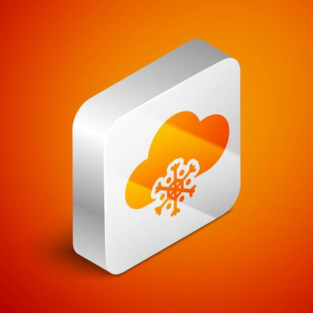 Isometric Cloud with snow icon isolated on orange background. Cloud with snowflakes. Single weather icon. Snowing sign. Silver square button. Vector Illustration Standard-Bild - 133691012