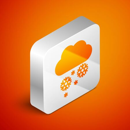Isometric Cloud with snow icon isolated on orange background. Cloud with snowflakes. Single weather icon. Snowing sign. Silver square button. Vector Illustration Standard-Bild - 133691014