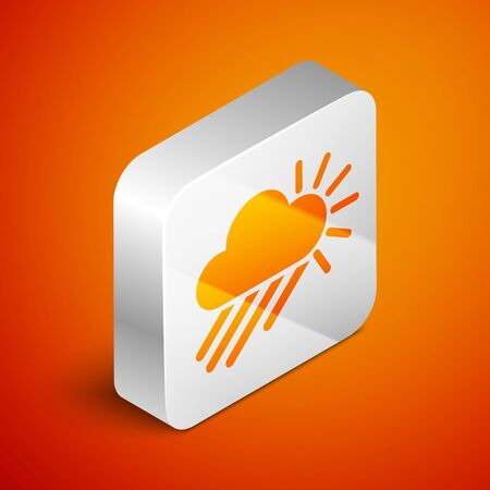 Isometric Cloudy with rain and sun icon isolated on orange background. Rain cloud precipitation with rain drops. Silver square button. Vector Illustration Standard-Bild - 133691028