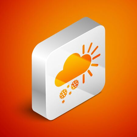 Isometric Cloudy with snow icon isolated on orange background. Cloud with snowflakes. Single weather icon. Snowing sign. Silver square button. Vector Illustration Standard-Bild - 133691031