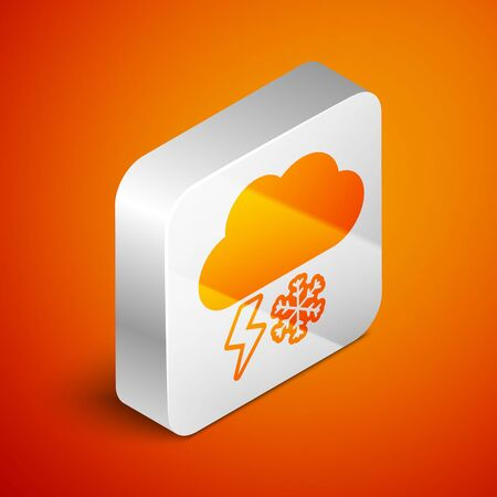 Isometric Cloud with snow and lightning icon isolated on orange background. Cloud with snowflakes. Single weather icon. Snowing sign. Silver square button. Vector Illustration