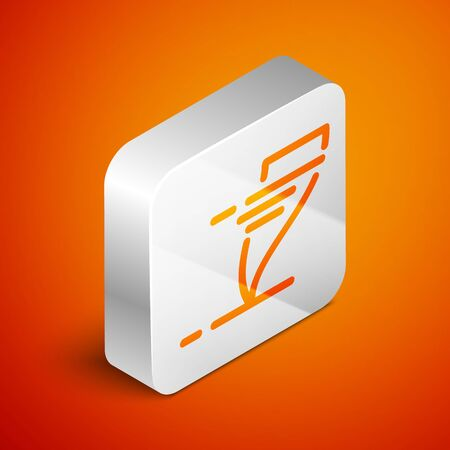 Isometric Tornado icon isolated on orange background. Cyclone, whirlwind, storm funnel, hurricane wind or twister weather icon. Silver square button. Vector Illustration Foto de archivo - 133690174