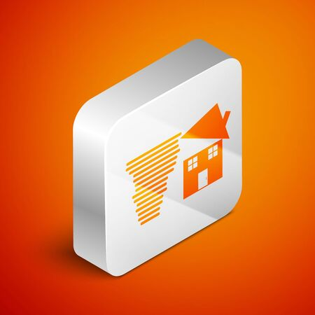 Isometric Tornado swirl damages house roof icon isolated on orange background. Cyclone, whirlwind, storm funnel, hurricane wind icon. Silver square button. Vector Illustration Foto de archivo - 133690193