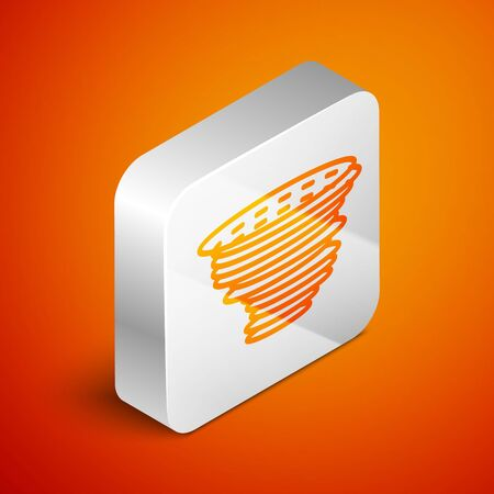 Isometric Tornado icon isolated on orange background. Cyclone, whirlwind, storm funnel, hurricane wind or twister weather icon. Silver square button. Vector Illustration Foto de archivo - 133690194