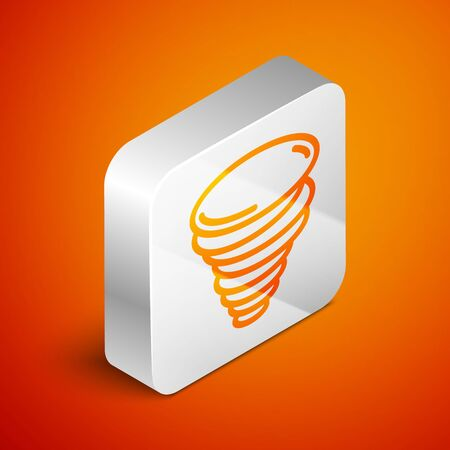 Isometric Tornado icon isolated on orange background. Cyclone, whirlwind, storm funnel, hurricane wind or twister weather icon. Silver square button. Vector Illustration