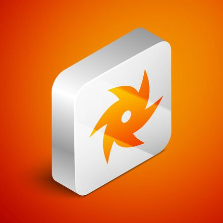 Isometric Tornado icon isolated on orange background. Cyclone, whirlwind, storm funnel, hurricane wind or twister weather icon. Silver square button. Vector Illustration Foto de archivo - 133690201