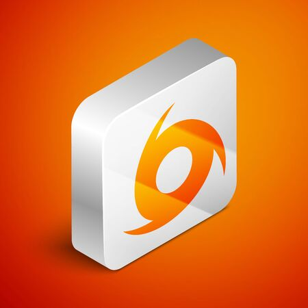 Isometric Tornado icon isolated on orange background. Cyclone, whirlwind, storm funnel, hurricane wind or twister weather icon. Silver square button. Vector Illustration Foto de archivo - 133690208