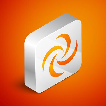 Isometric Tornado icon isolated on orange background. Cyclone, whirlwind, storm funnel, hurricane wind or twister weather icon. Silver square button. Vector Illustration Foto de archivo - 133690215