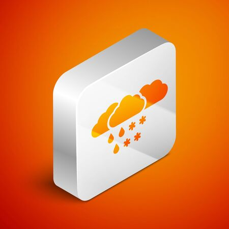 Isometric Cloud with snow and rain icon isolated on orange background. Weather icon. Silver square button. Vector Illustration Standard-Bild - 133690936