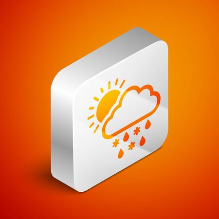 Isometric Cloud with snow, rain and sun icon isolated on orange background. Weather icon. Silver square button. Vector Illustration Standard-Bild - 133690940