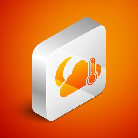 Isometric Thermometer and cloud with moon icon isolated on orange background. Silver square button. Vector Illustration