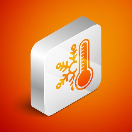 Isometric Thermometer with snowflake icon isolated on orange background. Silver square button. Vector Illustration