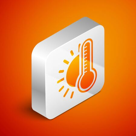 Isometric Thermometer with sun icon isolated on orange background. Silver square button. Vector Illustration 向量圖像