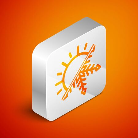 Isometric Hot and cold symbol. Sun and snowflake icon isolated on orange background. Winter and summer symbol. Silver square button. Vector Illustration