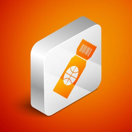 Isometric Basketball game ticket icon isolated on orange background. Silver square button. Vector Illustration Ilustração