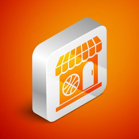 Isometric Sports shop and basketball ball icon isolated on orange background. Sport store. Silver square button. Vector Illustration Ilustrace