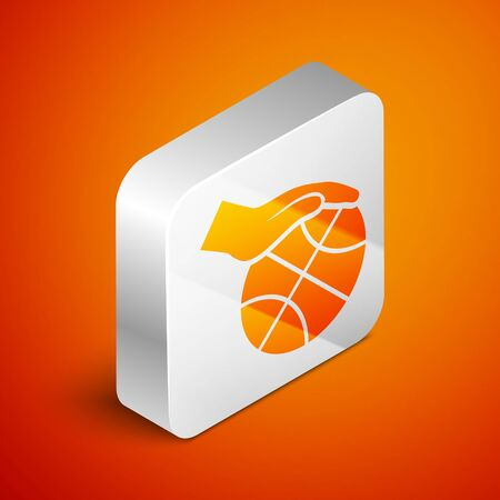 Isometric Hand with basketball ball icon isolated on orange background. Sport symbol. Silver square button. Vector Illustration