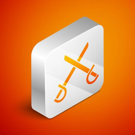 Isometric Crossed pirate swords icon isolated on orange background. Sabre sign. Silver square button. Vector Illustration