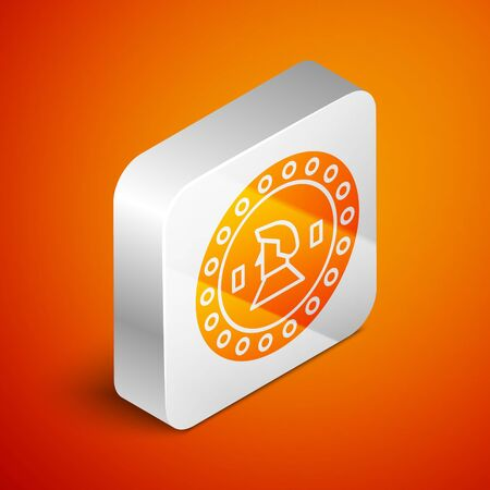 Isometric Pirate coin icon isolated on orange background. Silver square button. Vector Illustration