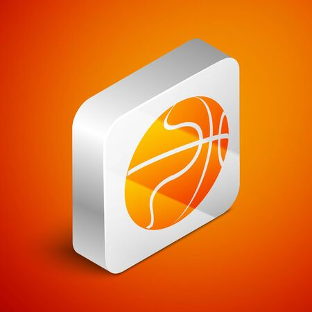 Isometric Basketball ball icon isolated on orange background. Sport symbol. Silver square button. Vector Illustration Иллюстрация