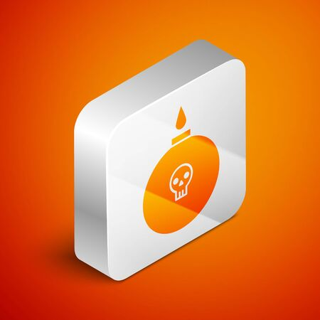 Isometric Bomb ready to explode icon isolated on orange background. Silver square button. Vector Illustration