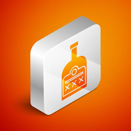 Isometric Alcohol drink Rum bottle icon isolated on orange background. Silver square button. Vector Illustration