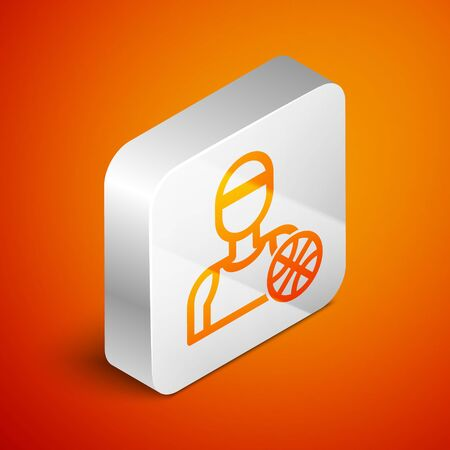 Isometric Basketball player icon isolated on orange background. Silver square button. Vector Illustration