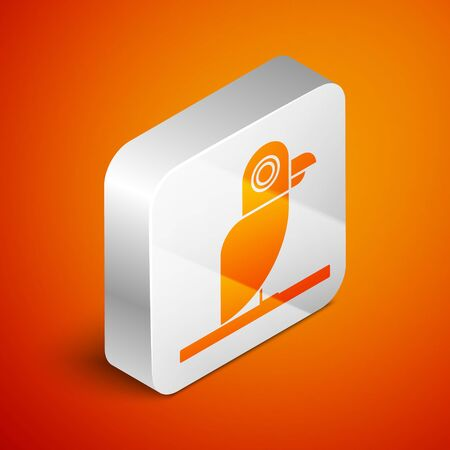 Isometric Pirate parrot icon isolated on orange background. Silver square button. Vector Illustration