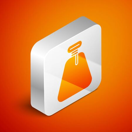 Isometric Pirate sack icon isolated on orange background. Silver square button. Vector Illustration