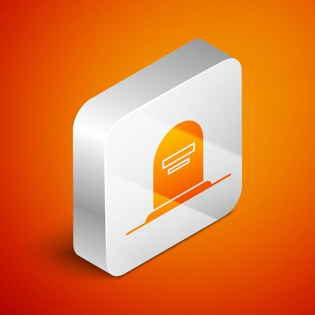 Isometric Tombstone with RIP written on it icon isolated on orange background. Grave icon. Silver square button. Vector Illustration