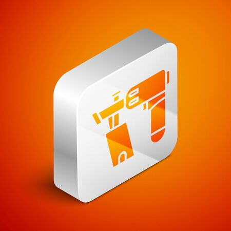 Isometric Nail gun icon isolated on orange background. Silver square button. Vector Illustration