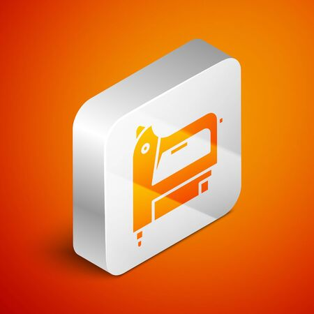 Isometric Electric construction stapler icon isolated on orange background. Working tool. Silver square button. Vector Illustration